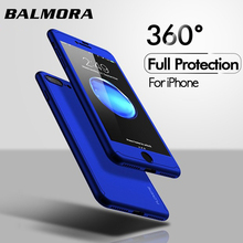 BALMORA 360 Full Protection Phone Case With Tempered Glass For IPhone X XR XSMAX 6 8 7 Plus