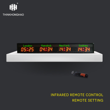 цена на LED Wall Clock/Hotel time zone clock/4cities world time clock,green city name,red time Remote control Honghao World Clock