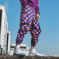 New Pattern Plaid Printing Jogger Pant Streetwear Sweat Loose Pant Pantalon Homme Pantalon Hombre Men Ankle Length Ment Trousers