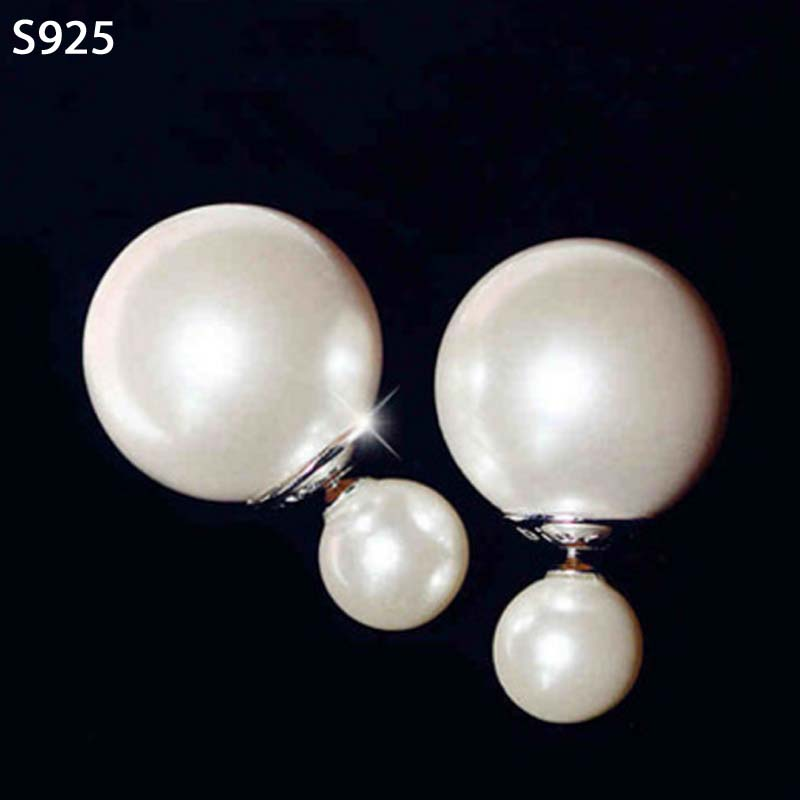 Genuine Real Pure 925 Sterling Solid Silver Stud Earrings for Women Jewelry Female Double Sided Big White Shell Pearl Earrings(China)