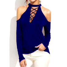 2019 New Womens Cold Shoulder Choker Neck Tops Summer Casual