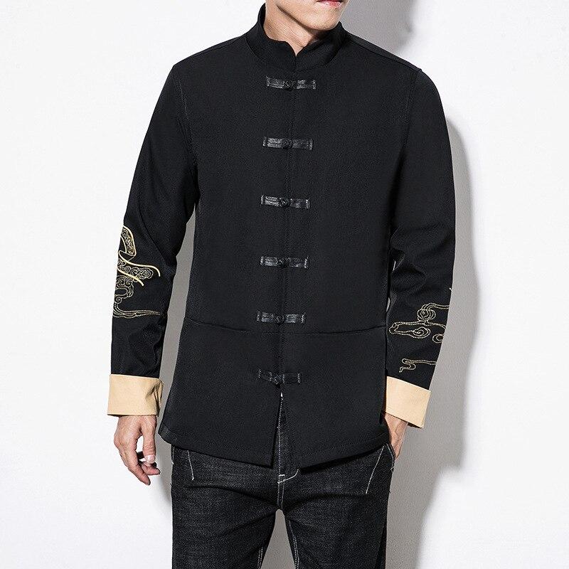 Printemps Grande Hommes Dragon Mâle Chinois Col 5xl Style Vêtements Taille Mandarin Black Streetwear Broderie Vintage Manteau 4337 Vestes qACdY0wq