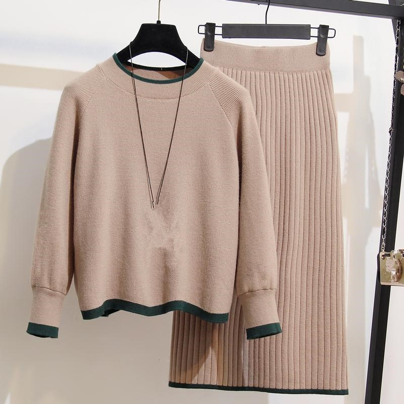Plus Size 2 Piece Set Women 2018 New Pullover And Skirts Knitted Suit Women Oversize Skirts 2 Piece Sets