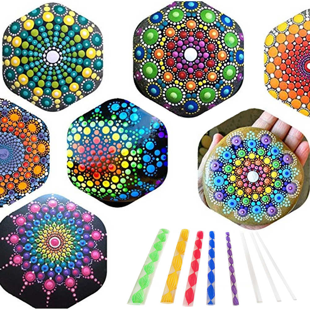5pcs 8pcs Acrylic Template Ball Stylus Clay Craft Dotting Rod Rock Painting Stencil Tool Pottery Nail Stamp