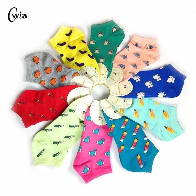 New Cute 11 Fruit Color Love Candy Color Cotton Sock Summer Style Women's Socks Women's Thin Sock Slippers 1pair=2pcs Ws186