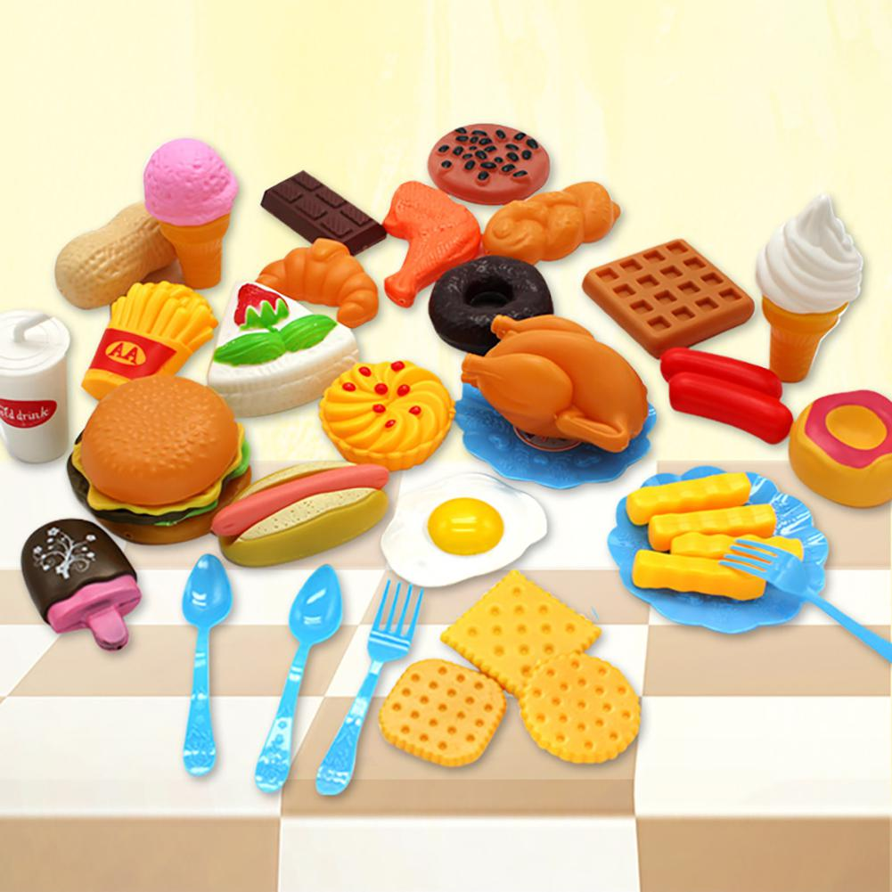 RCtown 34pcs Children Kitchen Toys Cutting Fruit Vegetable Plastic Drink Food Kit Kat Pretend Play Early Education Toy For Kids