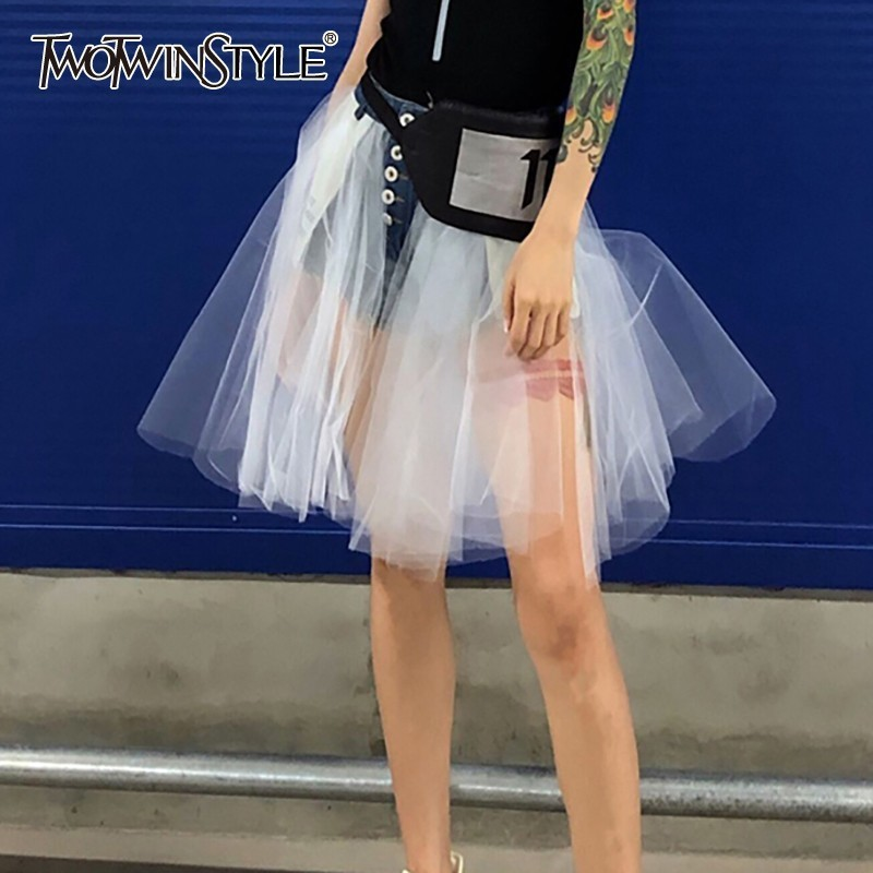 TWOTWINSTYLE Mesh Patchwok Denim Skirt Women High Waist Sexy Mini Skirts Female Korean 2020 Summer Fashion Clothes Large Size