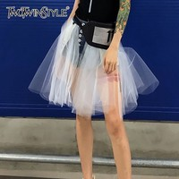 TWOTWINSTYLE Mesh Patchwok Denim Skirt Women High Waist Sexy Mini Skirts Female Korean 2019 Summer Fashion Clothes Large Size