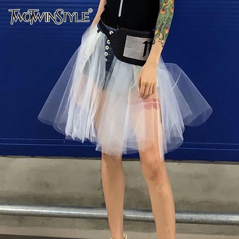 TWOTWINSTYLE Sexy Mesh Patchwok   Shorts   Women High Waist Button Large Size Denim   Short   Female Korean 2019 Spring Fashion New Tide