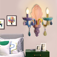 Nordic Lovely Princess Decoration Children Room Wall Lamp Led Macarons Girl Playground Colorful E14 Sconces With Crystal Pendant