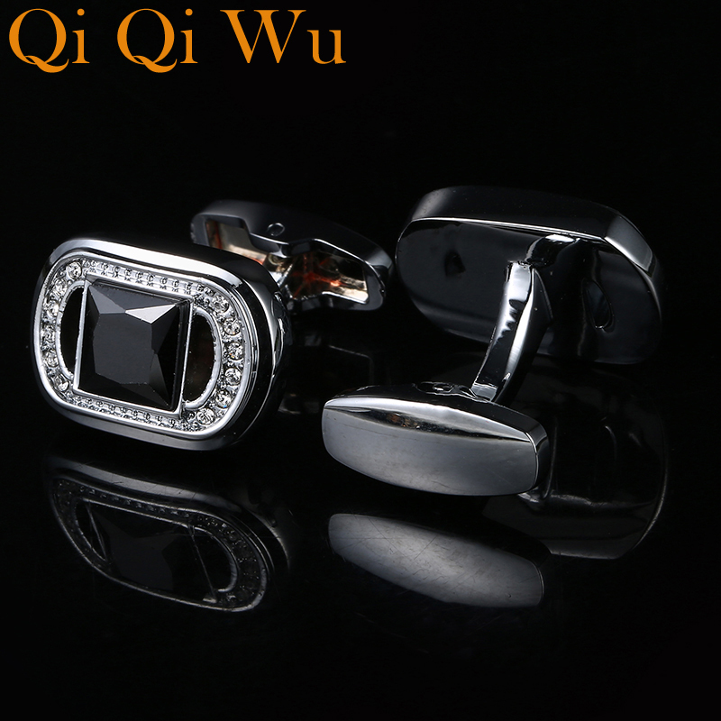 Qi Qi Wu New Cuff links French Shirt Wedding Cufflinks Sleeve Buttons For Men Brand Black Crystal Fashion Cufflink Free Shipping in Tie Clips Cufflinks from Jewelry Accessories