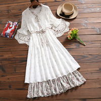 Japanese Mori Girl Kawaii Summer Dress Women Stand Collar Splicing Floral Print Chiffon Dresses Female Knee Length White Clothes