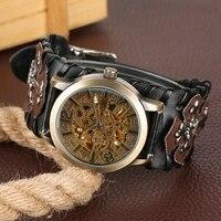 Skeleton Automatic Mechanical Watch Clock Man Retro Gothic Bronze Steampunk Self Winding 2019 Luxury Watch Reloj Hombre Saati