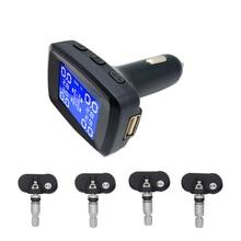 Tire Pressure Monitoring System Wireless TPMS Cigarette Lighter Plug with 4pcs External Sensors Temperature Pressure LCD Display стоимость