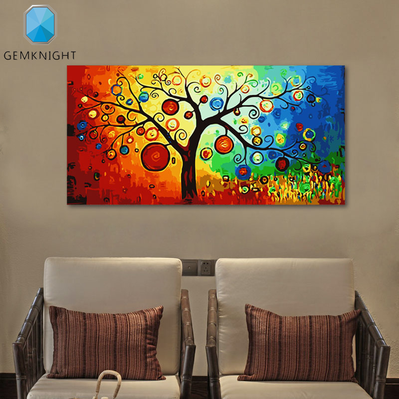 Living Room Digital Art: Pachira Macrocarpa Coloring By Numbers Modern Home Decor