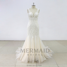 New backless heavy beaded mermaid wedding dress 2019