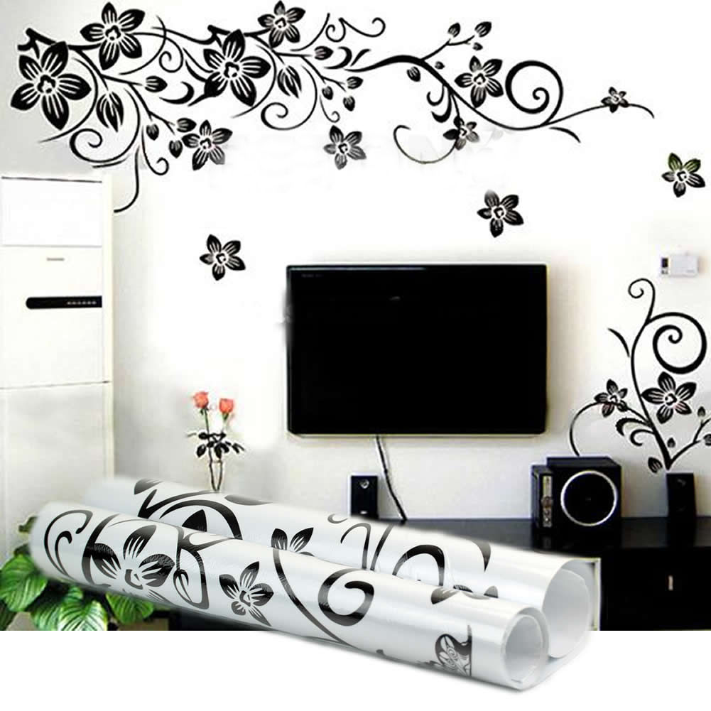 New Hot DIY Decor Black Flowers Removable Wall Stickers Wall Decals Mural Home Art Wall Stickers Furniture Stickers