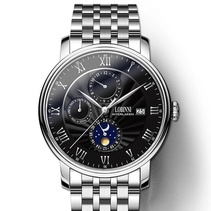 Switzerland LOBINNI Men Watches Luxury Brand Wristwatches Seagull Automatic Mechanical Clock Sapphire relogio masculino L1023-5
