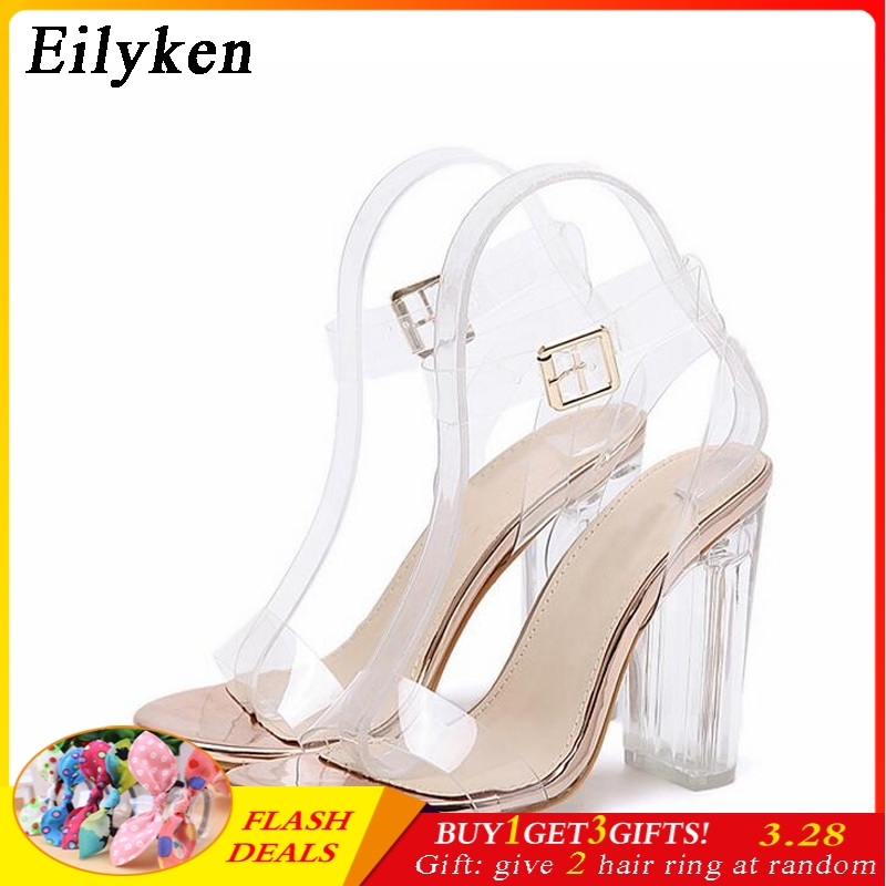 Eilyken 2019 New PVC Women Sandals Sexy Clear Transparent Ankle Strap High Heels Party San