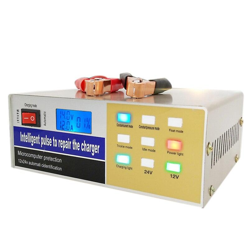 Chargeur de batterie de voiture Intelligent 12 V/24 V 100Ah entièrement automatique Type de réparation électrique au plomb prise de chargeur de batterie d'impulsion EU