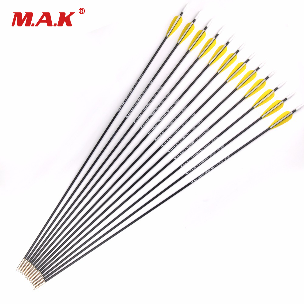 12 Pcs Mixed Carbon Arrow Length 30 Inch Diameter 5mm Spine 1000 Training Arrow For Compound Bow Archery Hunting