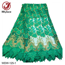 Beading Embroidery Tulle Lace Fabric with Rhinestones Wholesale African French Tissue WDW-125