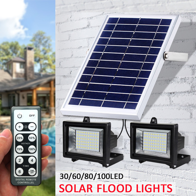 Smuxi 2-IN-1 2PCS 30/60/80/100 LED Solar Lights Outdoor with Remote Control Waterproof Super Bright Solar Flood Light Wall LightSmuxi 2-IN-1 2PCS 30/60/80/100 LED Solar Lights Outdoor with Remote Control Waterproof Super Bright Solar Flood Light Wall Light
