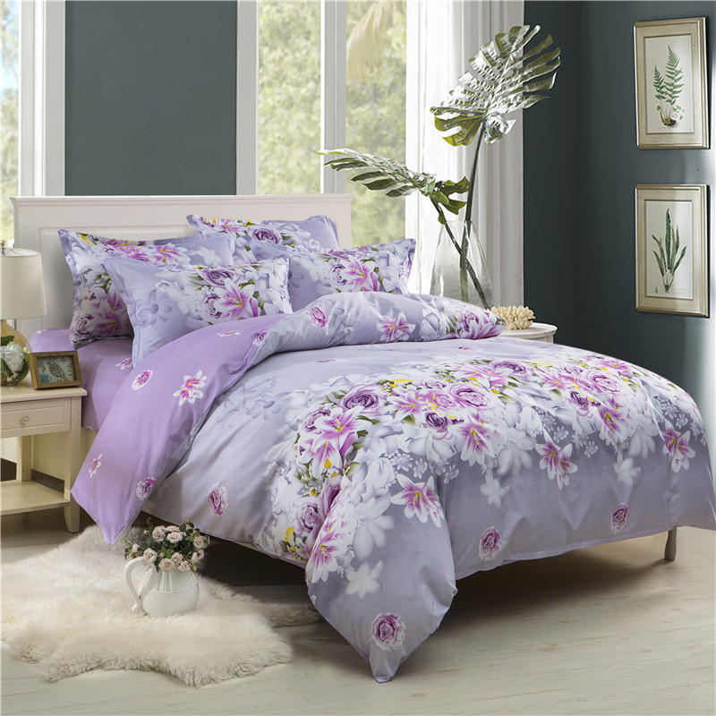 JU Home Fashion simple fresh active printing and dyeing skin breathable bed linen Quilt cover <font><b>pillowcase</b></font> bedding 3/4pcs image