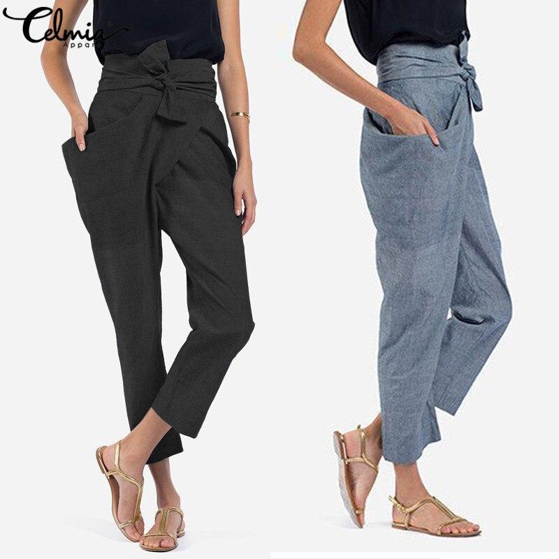 Celmia Plus Size Women High Waist Trouser 2018 Autumn Casual Bow Belted   Pants   Irregular Pockets Long Palazzo Carrot   Pants   5XL