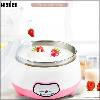 XEOLEO Yogurt maker Mini Automatic Yogurt machine Household DIY Yogurt tools Kitchen appliance Stainless steel tank Pink 220V 2
