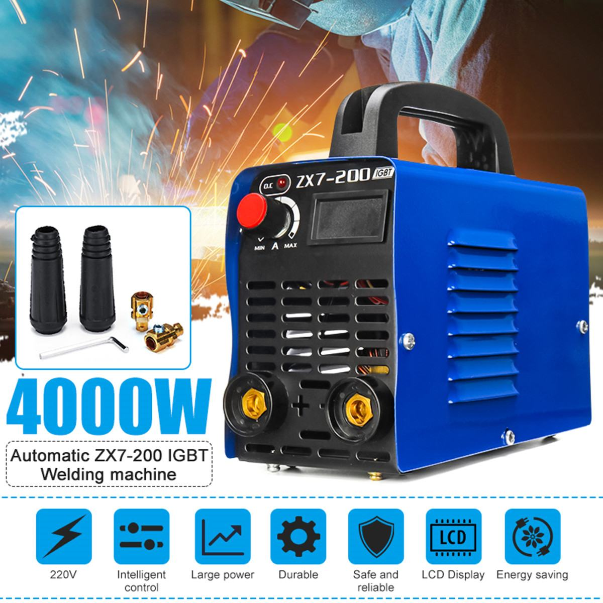 4000W 20A-200A Adjustable Portable Mini Handheld IGBT Inverter Arc Welding Machine Digital Electric-Welder Inverter Machine Tool