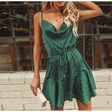 Polka Dot Print Drawstring Dress Women 2019 Summer Sexy Strap Backless Vintage Green A-line Dress Holiday Beach Party Dresses цена