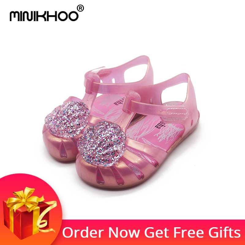 4913e3eb8e15 Mini Melissa Flash Shell Cute Girls Jelly Sandals 2018 New Melissa Children  Shoes Baby Sandals Breathable