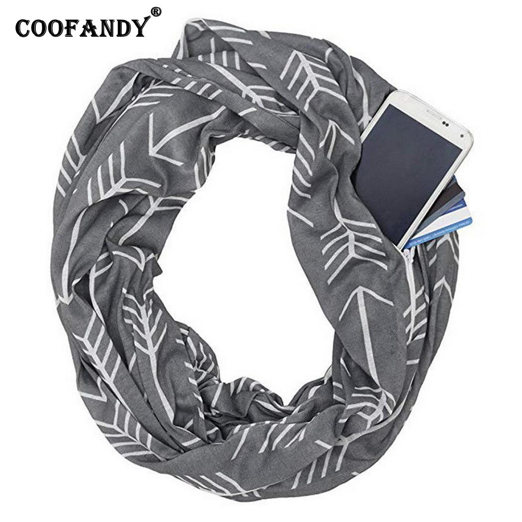 Apparel Accessories Print Scarf Warm Knitted Weft 55cm Keep Arrow Pocket Knitting 175 Storage Warm Casual Winter 180cm Women Zipper Invigorating Blood Circulation And Stopping Pains