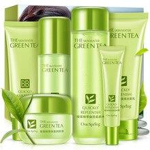 Зелёный Чай Суть увлажняющий подарок 6 набор по уходу за кожей нежный увлажняющий уход за лицом косметики по уходу за кожей