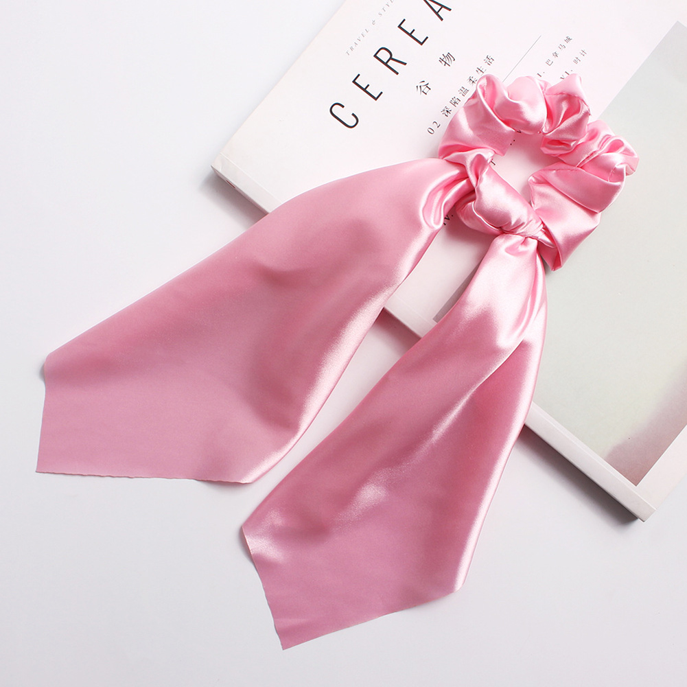 Bohemian Women's Chiffon Streamers Hair Rubber Rope Ties Elastic Bow Long Scrunchies Girls Solid Color Hair Accessories   Headwear