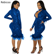 Hot Slim Sequins Feather Plunge V Neck Midi Dress 2019 Autumn Winter Long Sleeve Bodycon Night Club Party Vestidos