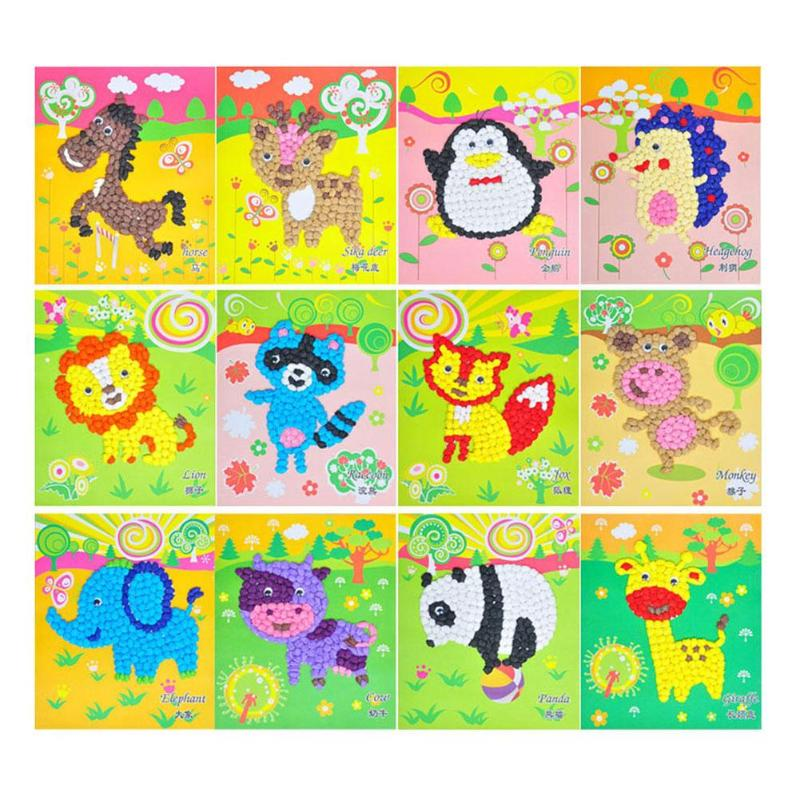 Stickers Puzzle Painting Scratch Paper DIY Craft Toys Stickers Children Educational Handmade Drawing Toys Cartoon Puzzles Crafts