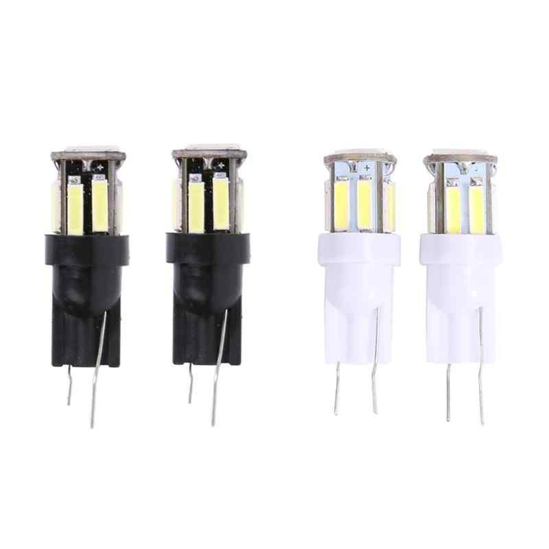 1 çift DC 12V araba LED işıkları T10 7020 10SMD kama işık okuma ampul plaka lambası geri vites lambası