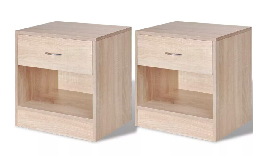 VidaXL 2 Pcs Bedside Cabinets Simple Elegant Nightstands With 1 Drawer Bedroom Bedside Cupboard Tea Table Solid Wood Tall Foot