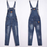 Casual Washed Stretch Denim Rompers European Style Jean Jumpsuit Plus Size Bib Jean Overalls For Women Suspenders Bodysuits