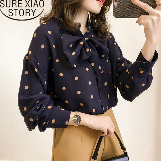6e416223b5d blusas mujer de moda 2019 womens tops and blouses plus size women Polka Dot  Bow chiffon blouse long sleeve shirts 1206 40