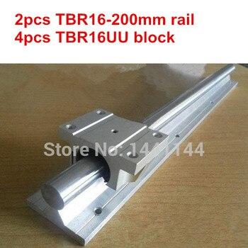 Rail de guía lineal TBR16 2 uds. rail lineal TBR16-200mm + 4 Uds. Bloque de diapositiva lineal de brida TBR16UU