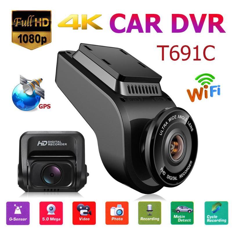 Caméra T691C Dash Cam 4 K 1080 P FHD voiture DVR avec carte TF 32 GB double objectif caméra avant tableau de bord WiFi GPS caméra enregistreur vidéo DVR Carro