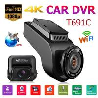 T691C Dash Cam 4K 1080P FHD Car DVR Camera With 32GB TF Card Dual Lens Front Dash Cam WiFi GPS Camera Video Recorder DVR Carro