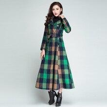 Women Wool Coat Plaid Women Long Double Breasted Woolen Coats Winter Coat Woolen Overcoat 2018 Wool Jackets Trench