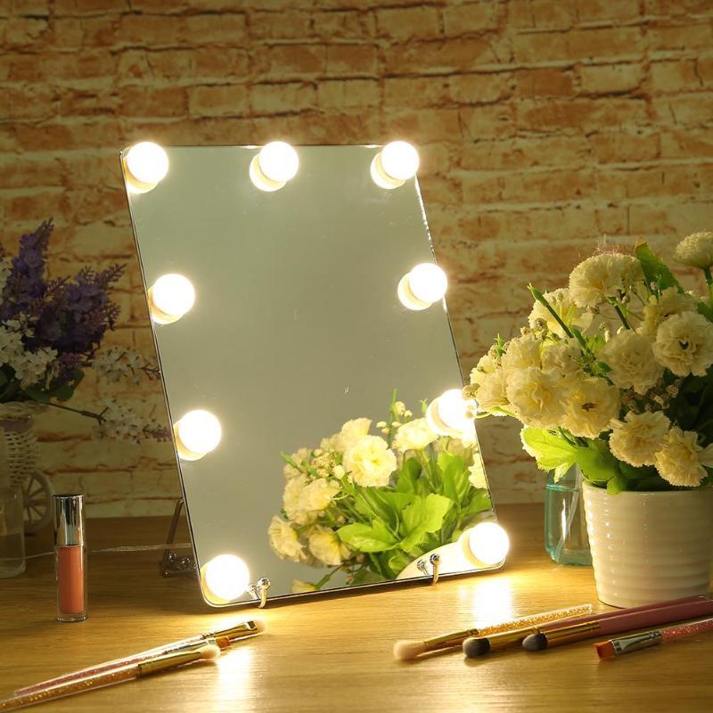 Hollywood Style Vanity Makeup Cosmetic Mirror with 9 Dimmable LED Bulbs dimmable hollywood makeup vanity mirror with light large lighted tabletop cosmetic mirror with 9pcs touch control led bulbs