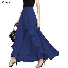 Xnxee 2019 New Bow Tie Ruffle Maxi Trousers Skirt Fashion High Waist Asymmetrical Pantskirt High Quality Women Divided Skirts asymmetrical bow tie shoulder tee
