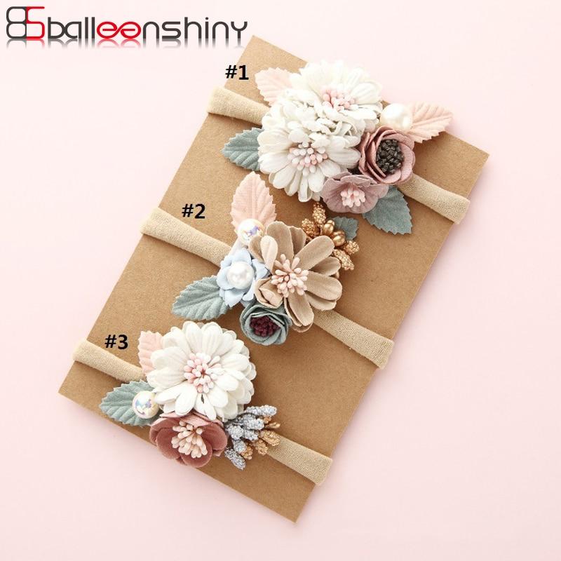 Детская эластичная повязка на голову BalleenShiny, модная повязка на голову с цветочным принтом, с жемчужинами, для новорожденных