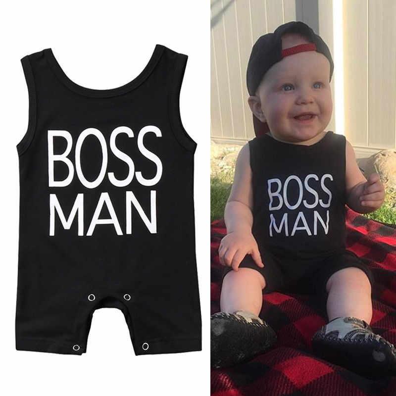 От 0 до 24 месяцев, Одежда для новорожденных босс без рукавов принт буквы комбинезон одежда для малышей Детские комбинезоны для мальчиков черный легкий костюм с шортами